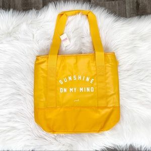 VS Pink Sunshine On My Mind Yellow Cooler Tote Bag